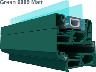 Aluminium green KL6009 matt folding sliding door colour