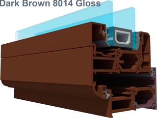 Aluminium folding doors in Smarts KL8014 brown gloss of duration and smarts type