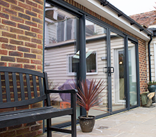 four pane grey aluminium sliding patio door