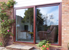 Rosewood on White PVC Patio Doors
