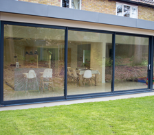 three pane aluminium grey sliding patio door