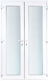 UPVC-PVC french double door in liniar profile