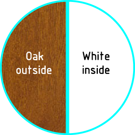 upvc oak on white colour